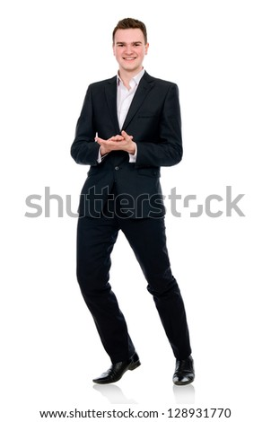 Full length of a cheerful business man standing against white - stock photo