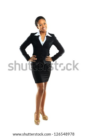 Full length of a cheerful young business woman posing over white background - stock photo