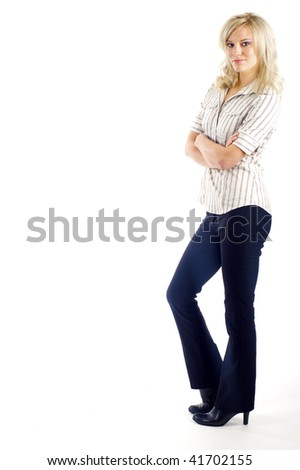 Full length of a confident business woman, a lot of copyspace isolated over a white background - stock photo