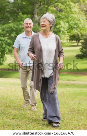 Full length of a happy senior couple walking in the park - stock photo