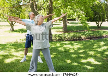 Full length of a mature couple stretching hands at the park - stock photo