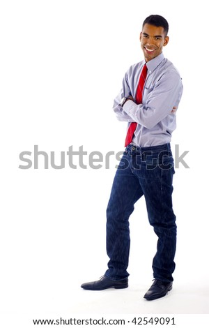Full length of a young & confident African American / Hispanic mixed  business man smiling - a lot of copyspace, Isolated over a white background - stock photo