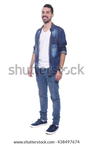 Full length of a young latin man. Isolated white background.