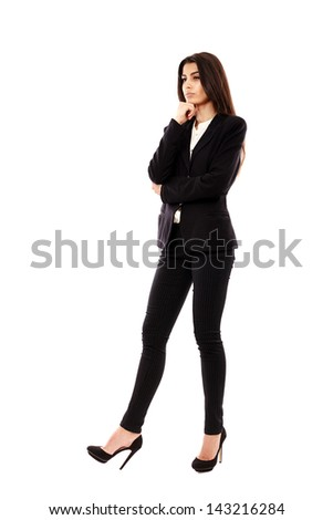 Full length of a young Middle Eastern businesswoman isolated on white background - stock photo