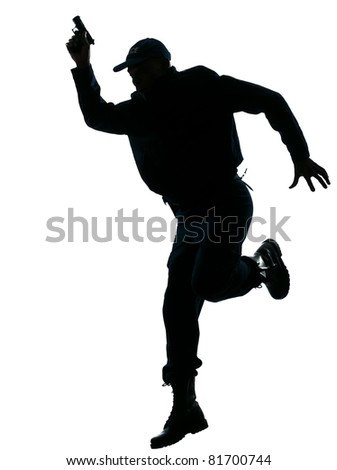 Full length of an afro American policeman running with a handgun on white isolated background - stock photo