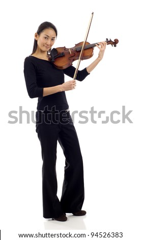 Full length of an Asian woman playing the violin isolated over white background - stock photo