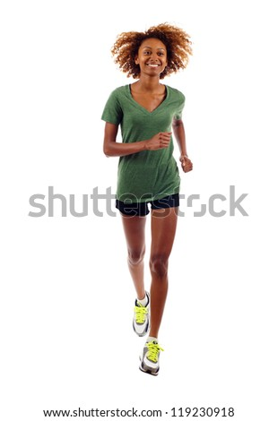 Full length of beautiful black fitness girl running isolated over white - stock photo