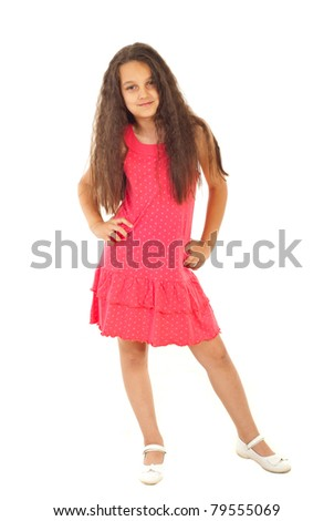 Full length of beautiful girl model in pink dress posing with hands on waist isolated on white background - stock photo