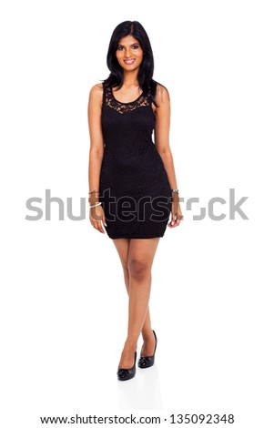 full length of beautiful smiling indian woman isolated on white background - stock photo