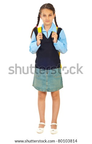 Full length of beauty schoolgirl in first day of school isolated on white background - stock photo