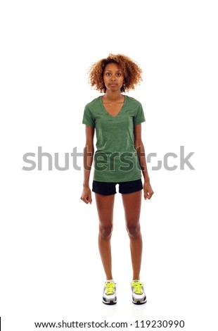 Full length of black fitness woman isolated over white - stock photo