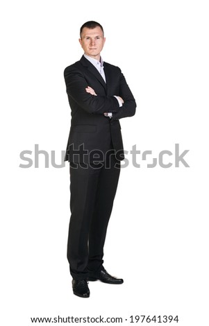 Full length of business man standing with arms folded isolated on white background - stock photo
