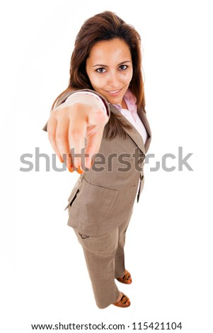 Full length of business woman pointing the finger at you, isolated on white - stock photo