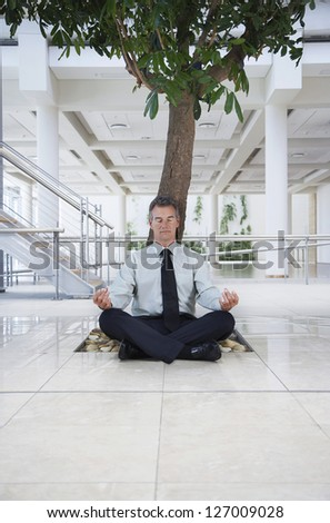 Full length of businessman meditating under tree in the office - stock photo