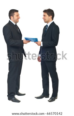 Full length of businessmen with business contract isolated on white background