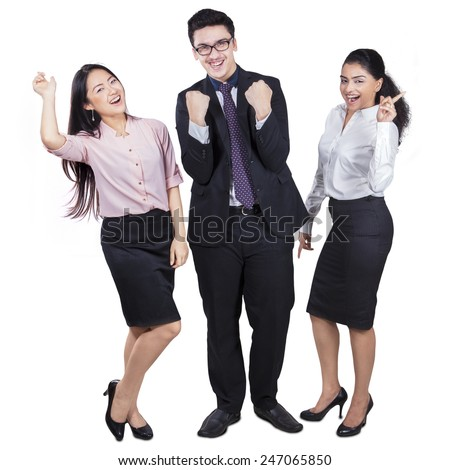 Full length of cheerful multiracial business group celebrating their achievement, isolated on white - stock photo