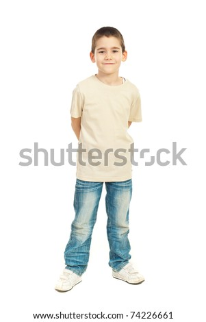 Full length of child boy in blank beige t-shirt isolated on white background - stock photo