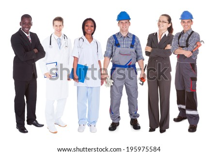 Full length of confident people with diverse occupations standing against white background - stock photo