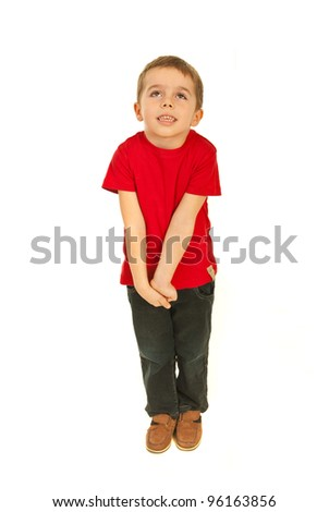 Full length of dreaming happy little boy  isolate don white background