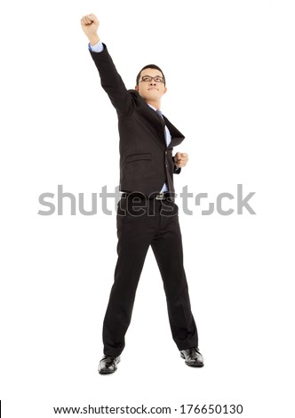 full length of  energy businessman pose as superman  - stock photo