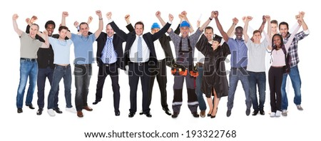Full length of excited people with different occupations celebrating success over white background - stock photo