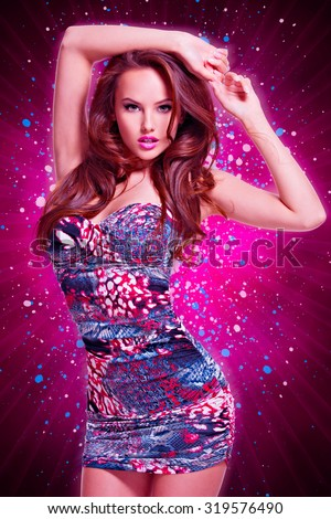 full length of fashion model posing in mini skirt.  portrait of a sexy caucasian girl  - stock photo