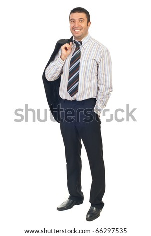 Full length of handsome smiling business man standing with hand in pants pocket and holding coat on his shoulder isolated on white background