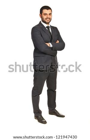 Full length of happy executive male isolated on white background - stock photo