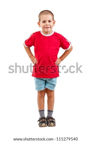 Full length of happy little boy over white background