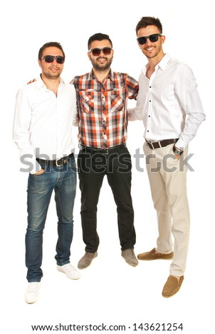 Full length of happy men friends isolated on white background