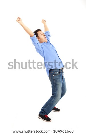 Full length of  happy young man - stock photo