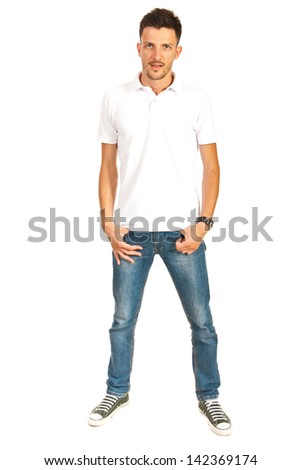 Full length of man in white t-shirt and jeans isolated on white background - stock photo