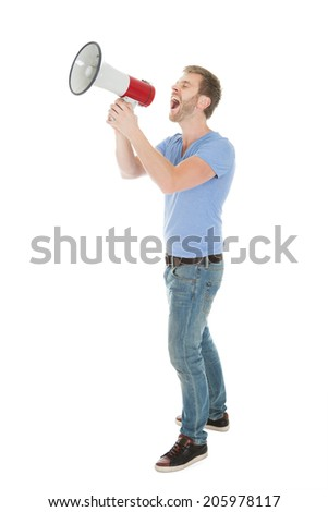 Full length of man screaming into megaphone over white background