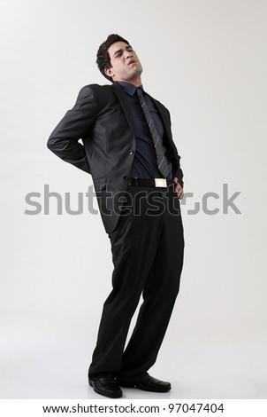 full length of Man Suffering Back Pain - stock photo
