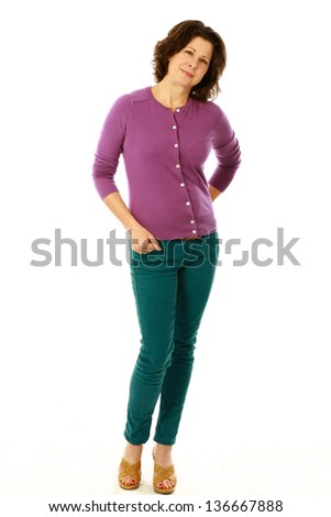 full length of middle age woman isolated on white - stock photo