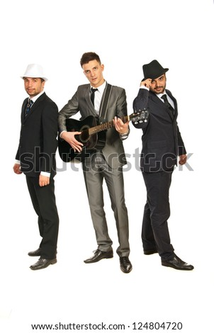 Full length of musical band isolated on white background - stock photo