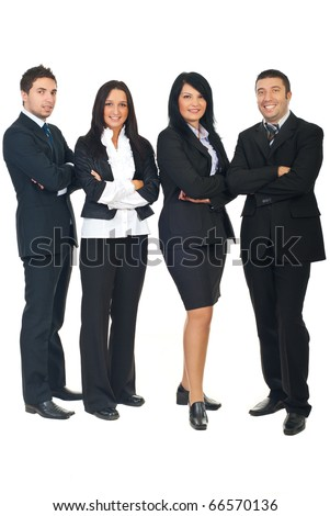 Full length of smiling  business people group standing in a row with hands folded isolated on white background