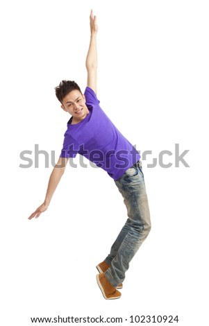 Full length of  stylish young man dancing - stock photo