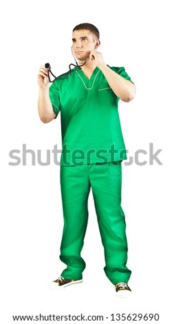 Full length of surgeon male  in green uniform isolated on white background