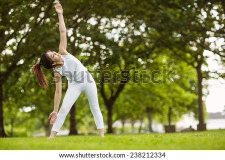 Full length of toned young woman doing stretching exercises in park - stock photo