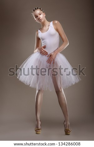 Full length of Tranquil Asian Woman in White Dress. Sensuality - stock photo