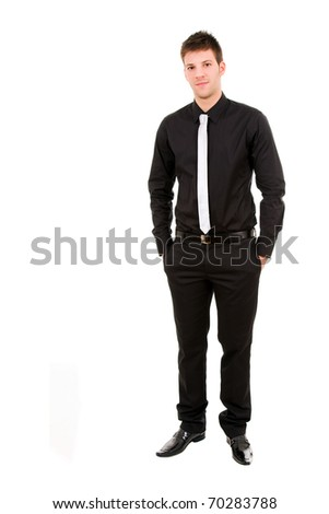 Full length of young business man, isolated on white background - stock photo