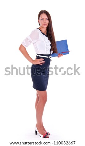 Full length of young  business woman holding clipboard over white background