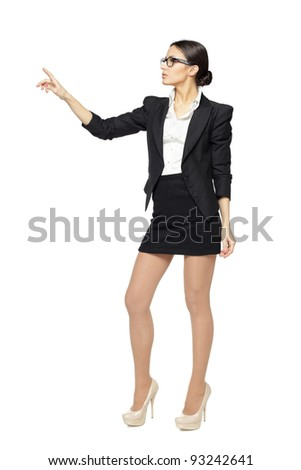 Full length of young business woman pointing at white, isolated on white background