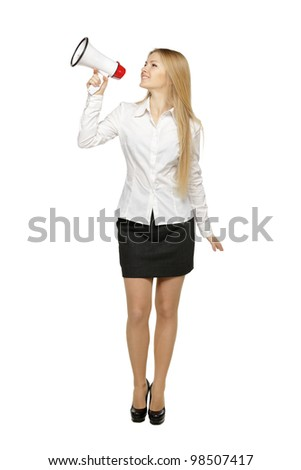 Full length of young business woman with megaphone, over white background