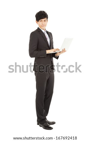 Full length of  young businessman standing with laptop - stock photo