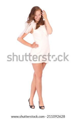Full length of young elegant female in light white summer dress, - stock photo