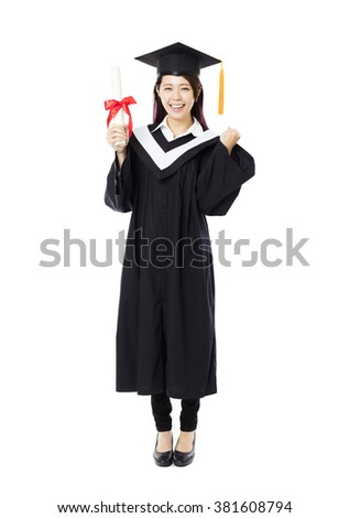 full length of  young female college graduation - stock photo