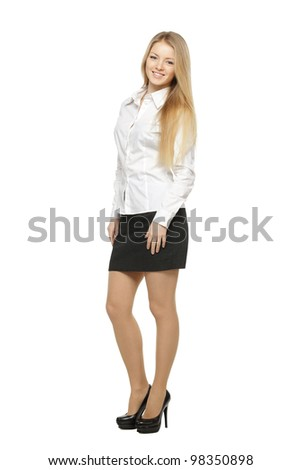 Full length of young smiling female, isolated on white background