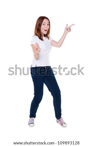 full length photo of jovial young woman over white background - stock photo